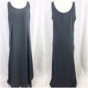 Eileen Fisher Grey Silk Maxi Shift Dress